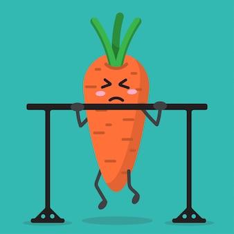 Saúde cartoon cenoura forte