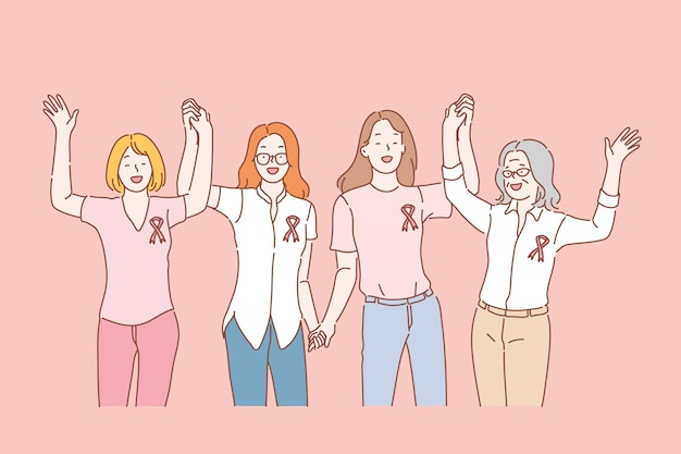 Saúde, conceito de fita de conscientização de câncer de mama
