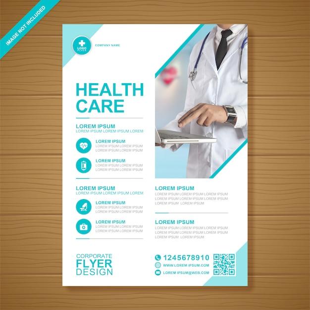 Saúde corporativo e cobertura médica modelo de design de folheto a4