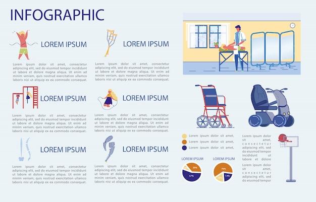 Saúde da coluna infantil e manutenção, infográfico.
