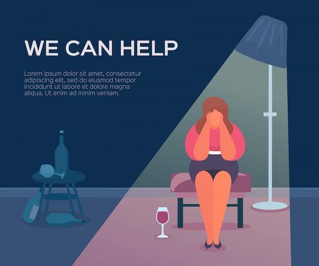 Saúde das pessoas, psicólogo, podemos ajudar, ilustração. sessão de terapia para grupo de pacientes, apoio psicológico feminino.