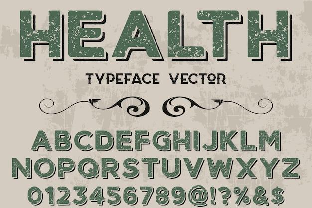 Saúde de design de rótulo de efeito de sombra de tipografia