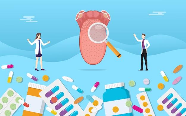 Saúde de medicina de língua humana com tratamento de cápsula de droga de pílulas