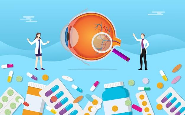 Saúde de medicina olho humano com tratamento de cápsulas de droga pílulas