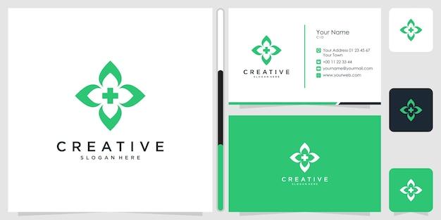 Saúde design de logotipo médico símbolo ícone modelo cartão de visita premium