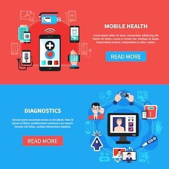 Saúde digital gadgets banners planas