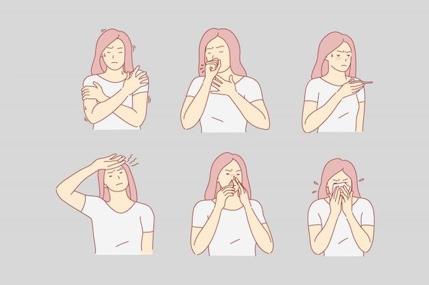 Saúde, dor, doença, conjunto de ilustração