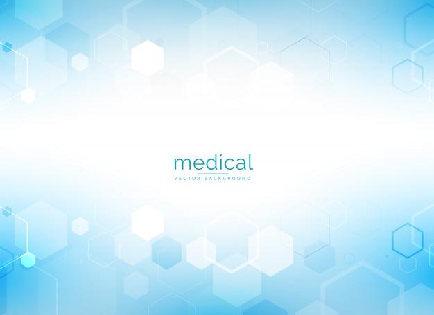Saúde e fundo médico com formas geométricas hexagonais