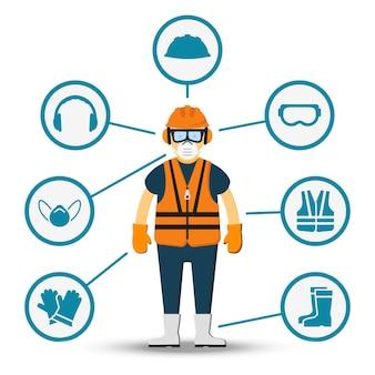 Saúde e segurança do trabalhador. ilustração de acessórios para proteção