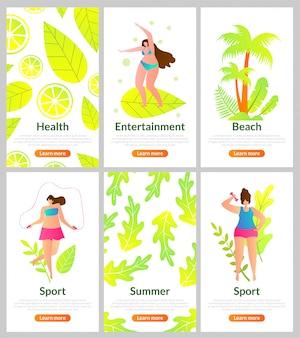 Saúde, entretenimento, praia, esportes e verão.