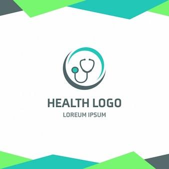 Saúde estetoscópio logotipo fundo verde