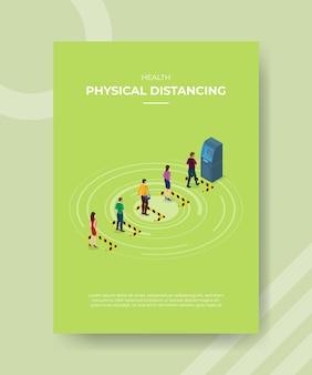 Saúde física distanciando pessoas esperando fila de alerta na frente da máquina atm