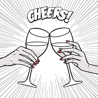 Saúde, meninas bebendo, mãos com taças de vinho