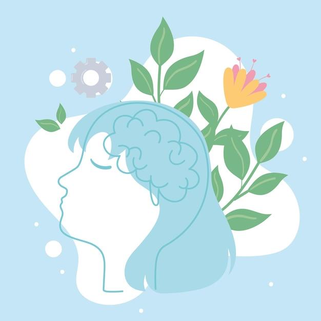 Saúde mental calma, cabeça feminina e flores