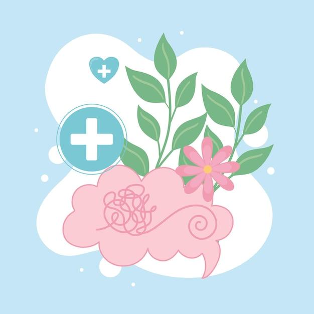 Saúde mental cérebro humano e flores