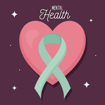 Saúde mental com ícone de coração e fita da mente e tema humano