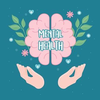 Saúde mental cuidados cerebrais em mãos