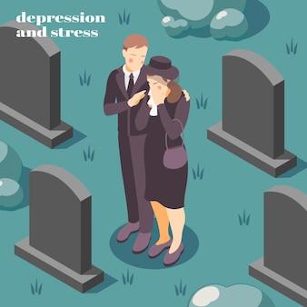 Saúde mental, depressão, estresse, composição isométrica, como lidar com o luto, perda, morte, ilustração de um ente querido