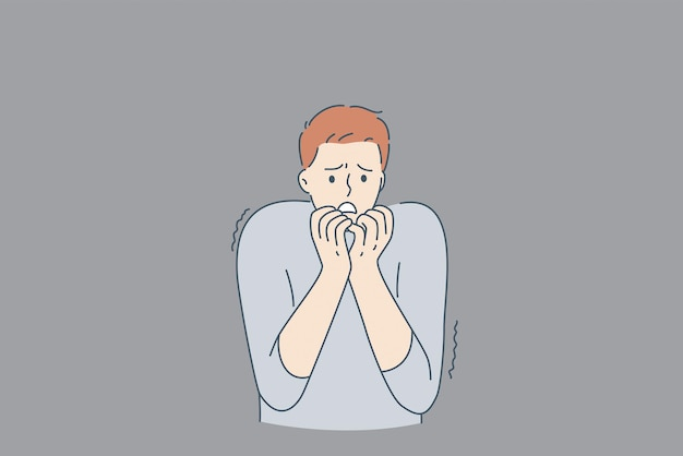 Saúde mental e conceito de medos internos. jovem estressado personagem de desenho animado em pé roendo unhas e se sentindo mal com fantasmas na parede de dentro de ilustração vetorial de medos