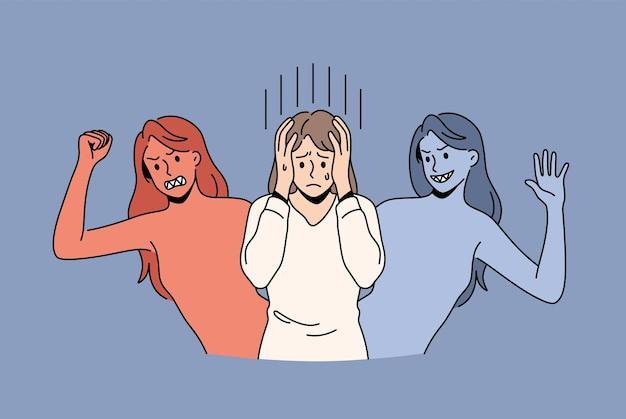 Saúde mental e conceito de transtorno bipolar. mulher jovem cobrindo a cabeça com as mãos sentindo vários humores sofrendo de transtorno bipolar, ilustração vetorial