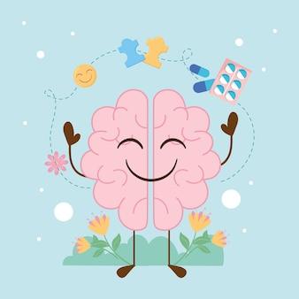 Saúde mental fofo cérebro saúde