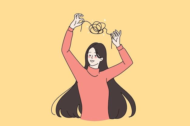 Saúde mental, psicologia, conceito de psicoterapia. jovem sorridente mulher paciente desembaraçando o fio emaranhado sobre a cabeça e ilustração vetorial de cabelo