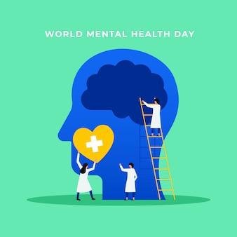 Saúde mental psicologia tratamento médico ilustração plana
