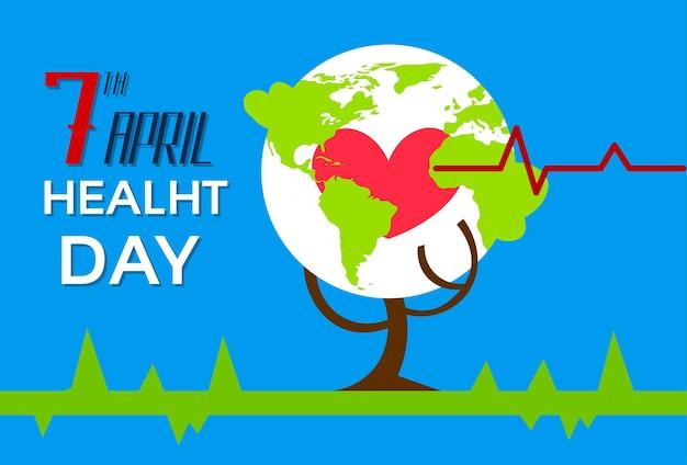 Saúde mundo dia árvore com forma de coração vermelho globo