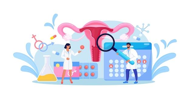 Saúde reprodutiva feminina. médicos ginecologistas fazem exame de útero, diagnóstico, triagem de teste de laboratório. prevenção de doenças ginecológicas. ovários, útero, tratamento médico do colo do útero