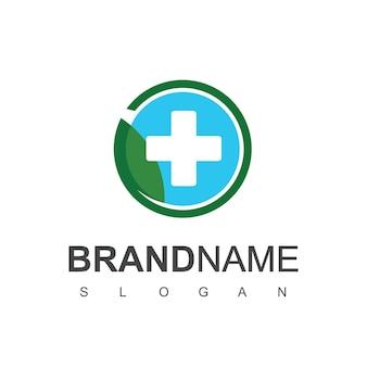 Saúde são logo design vector herbal pharmacy symbol