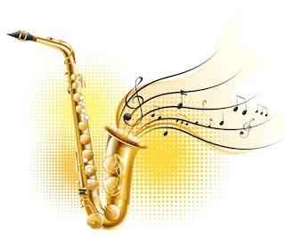 Saxofone clássico com notas musicais
