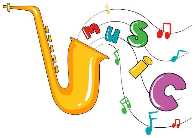 Saxofone e música de palavra em fundo branco