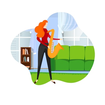 Saxofonista fêmea que joga a melodia do jazz no saxofone.