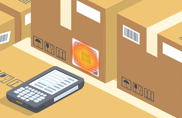 Scanner de código de barras lê a caixa, armazenamento