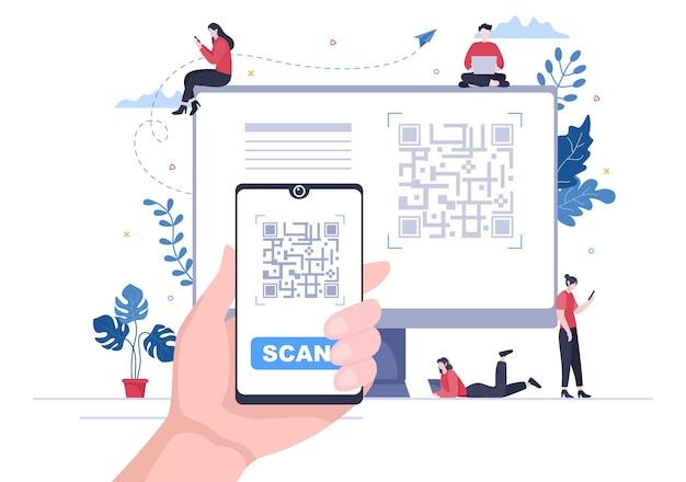Scanner de código qr para pagamento online, pagamento eletrônico e transferência de dinheiro em smartphone com aplicativo em mãos. ilustração em vetor de fundo