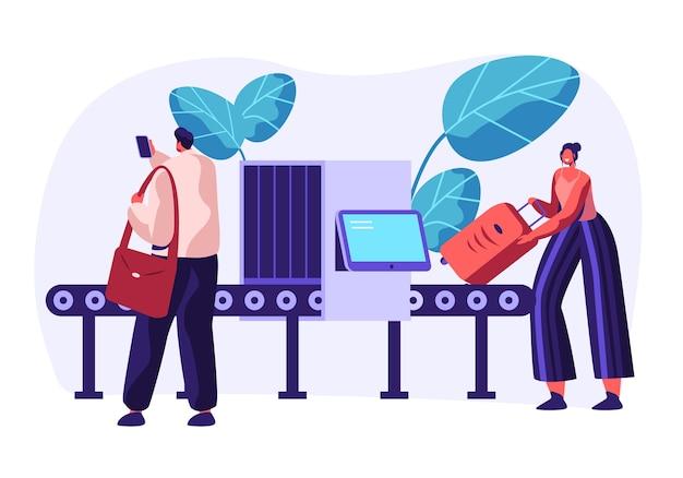 Scanner de correia transportadora de segurança aeroportuária. detector de metais do ponto de verificação do terminal com personagens de viajantes e bagagem.