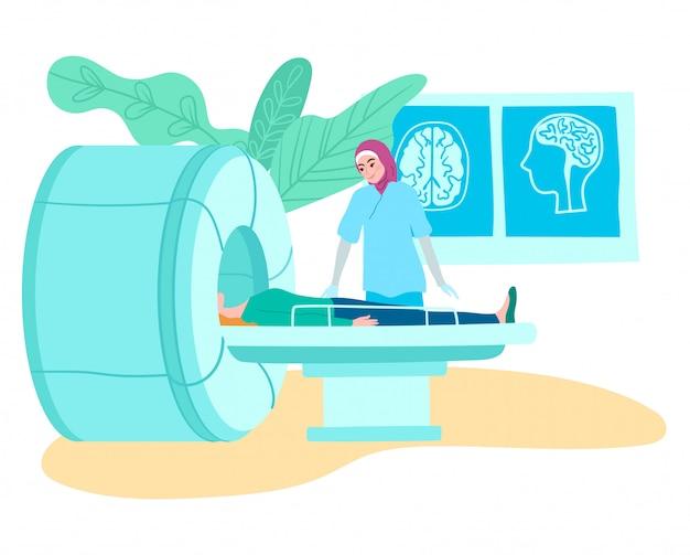 Scanner de tomografia de ressonância magnética no hospital, médico muçulmano e paciente na ilustração dos desenhos animados de exame de ressonância magnética médica.