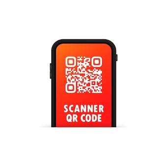 Scanner qr ou telefone celular faz a varredura do código qr para o conceito de pagamento digital