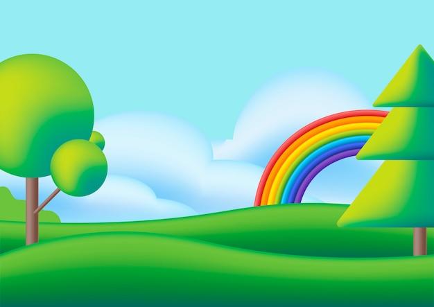 Scape bonito com arco-íris, árvores e prado verde.