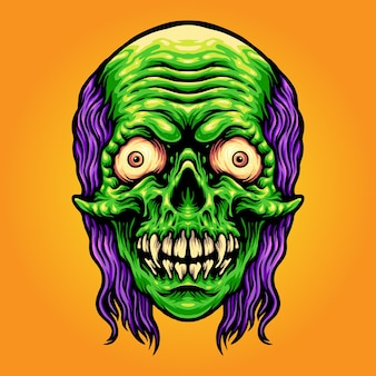 Scary skull zombie mascot ilustrações vetoriais para o seu trabalho logotipo, t-shirt da mercadoria da mascote, adesivos e designs de etiquetas, cartazes, cartões comemorativos anunciando empresas ou marcas.