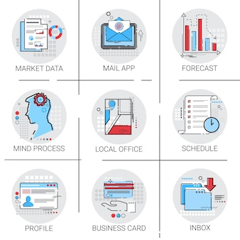 Schedule business card icon set