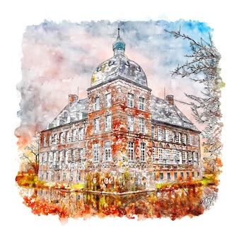 Schloss hovestadt alemanha esboço em aquarela ilustração desenhada à mão