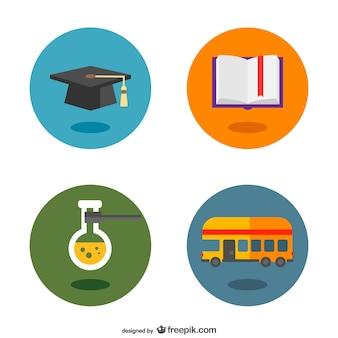 School botões pictogramas plano definido