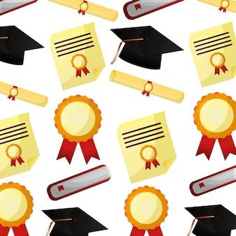 School graduation hat rolar certificado de diploma padrão
