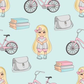 School seamless pattern color illustration menina de escola