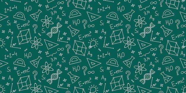 School seamless scientific pattern fórmulas química física geometria matemática