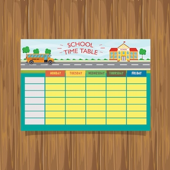 School time table fundo de ônibus escolar