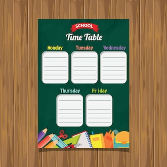 School time table fundo verde de quadro-negro