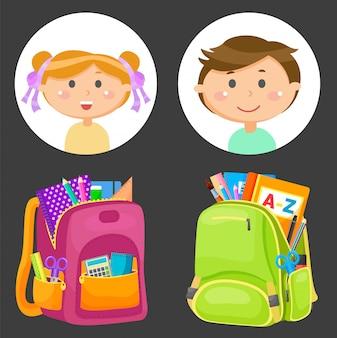 Schoolbags e avatares de crianças em idade escolar, artigos de papelaria