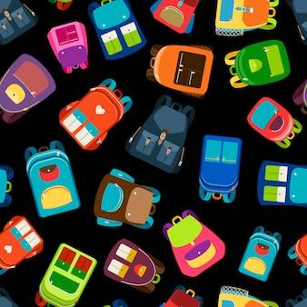 Schoolbags e mochilas escolares ilustração em vetor padrão sem emenda